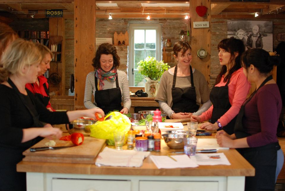 Emma, Janie and the wellness retreat gang - cookery classes (Janie helped but had something of a head start)