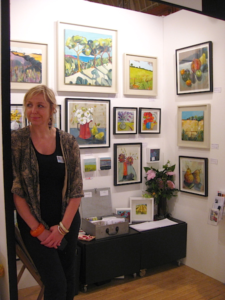 Lara on her gallery stand at the Brighton Art Fair
